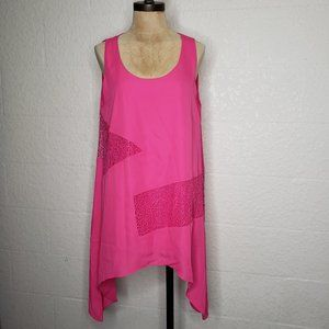Kate & Mallory PInk/Orange Sheer Sharkbite Top L